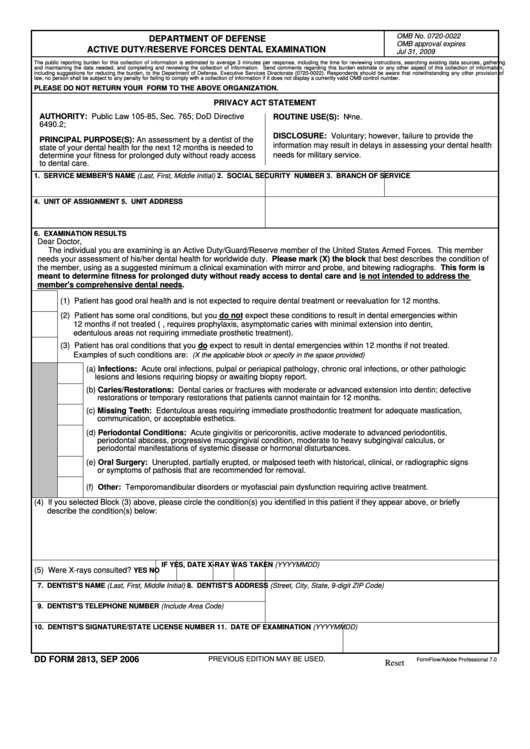 Fillable Dd Form 2813, 2006, Active Duty/reserve Forces Dental Examination Printable pdf