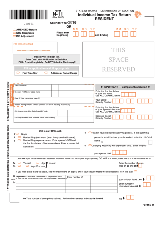 Form N-11 - Individual Income Tax Return (Resident) - 2016 ...