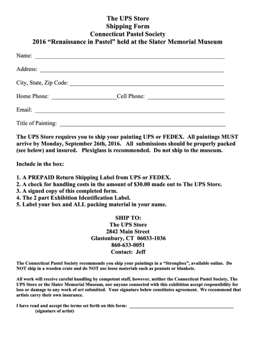 The Ups Store Shipping Form Printable Pdf Download