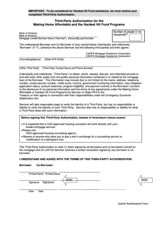 third party authorization form bank of america edd