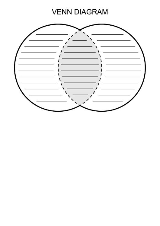 Venn Diagram Template - Grayscale, Lined printable pdf ...