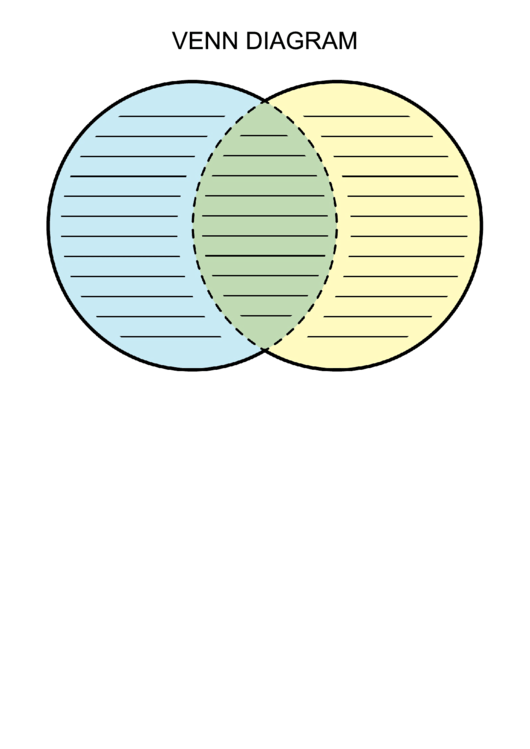 Venn Diagram Worksheet Blue Green And Yellow Lined Printable Pdf
