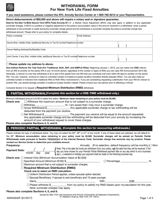 Form Ann43042f - Withdrawal Form For New York Life Fixed Annuities