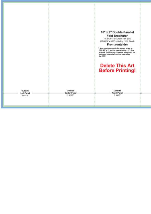 16 X 9 Double Parallel Fold Brochure Template Printable Pdf Download