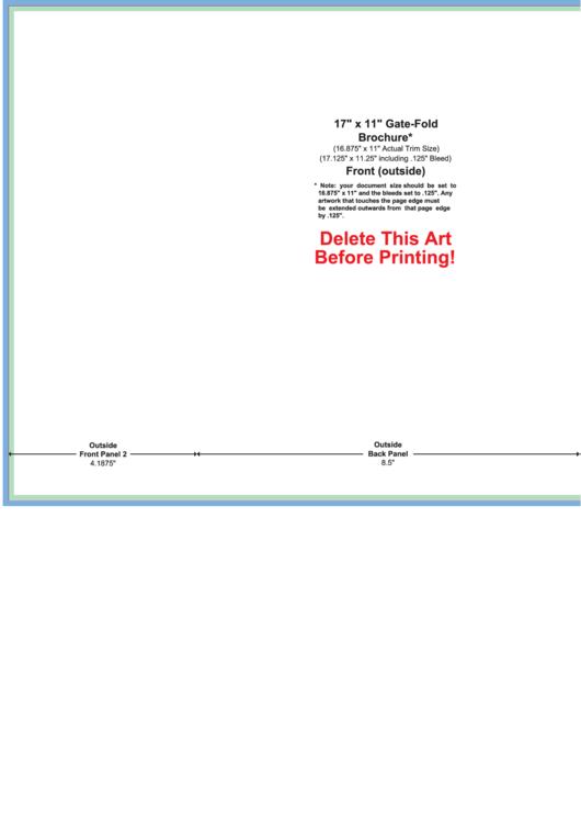 17 X 11 Gate-fold Brochure Template