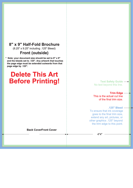 8 x 9 half fold brochure template printable pdf download