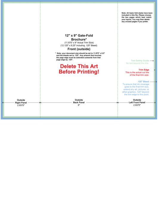 12 X 9 Gate-fold Brochure Template