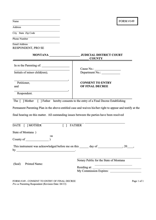 Montana Form 149 - Consent To Entry Of Final Decree