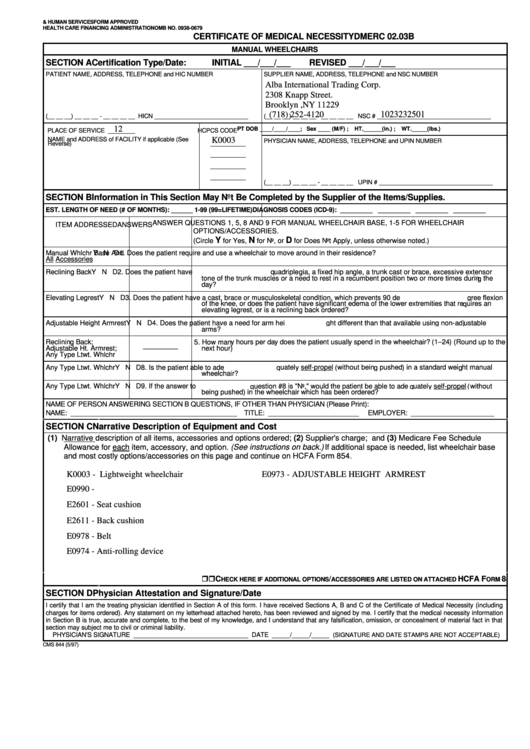 Fillable Dmerc 02.03b - Certificate Of Medical Necessity ...