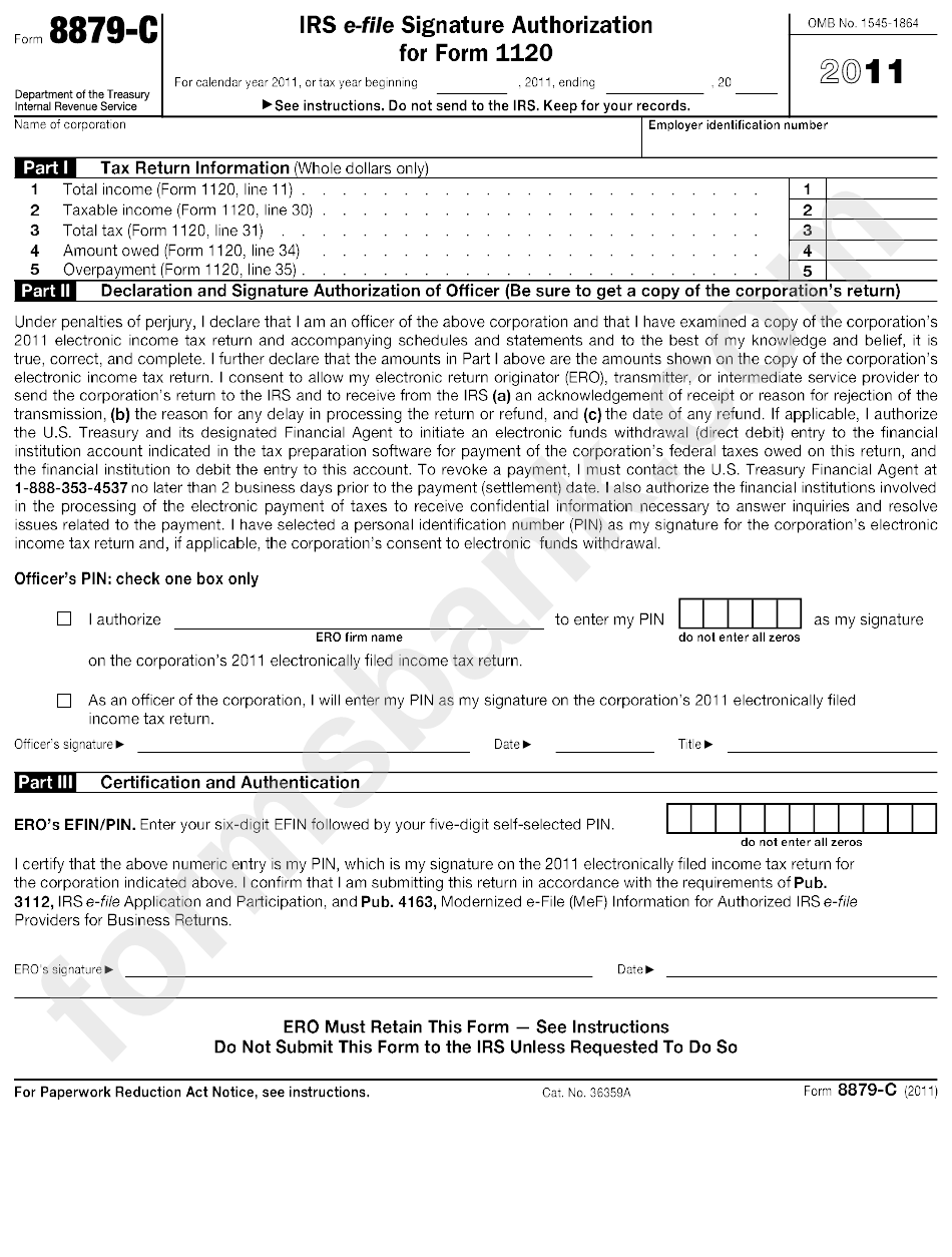 Form 8879-C - Irs E-File Signature Authorization For Form 1120 ...
