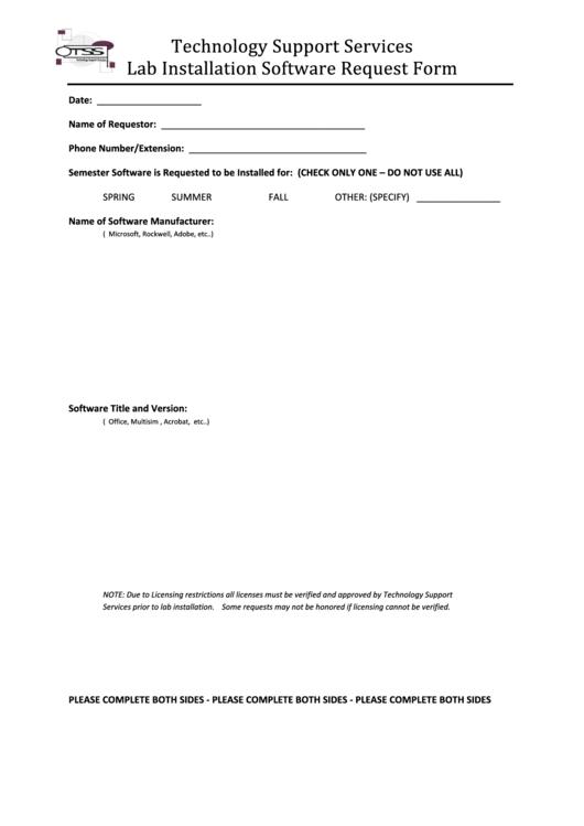 Lab Installation Software Request Form