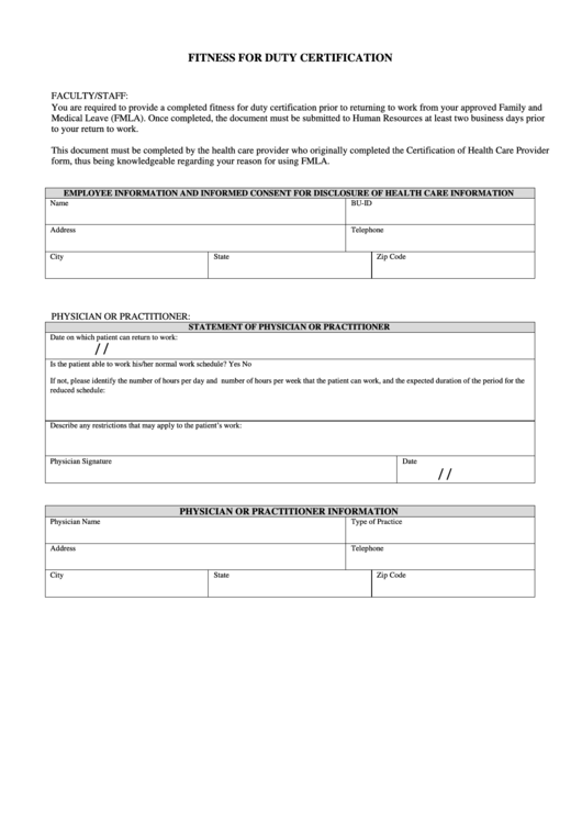 Fitness For Duty Certification printable pdf download