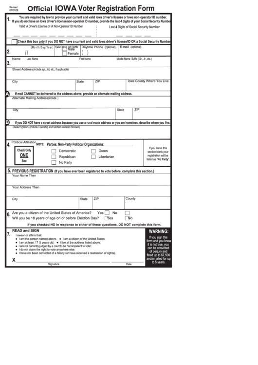 Official Iowa Voter Registration Form Printable Pdf Download