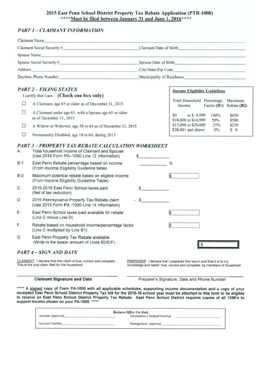 Property Tax Rebate Application printable pdf download