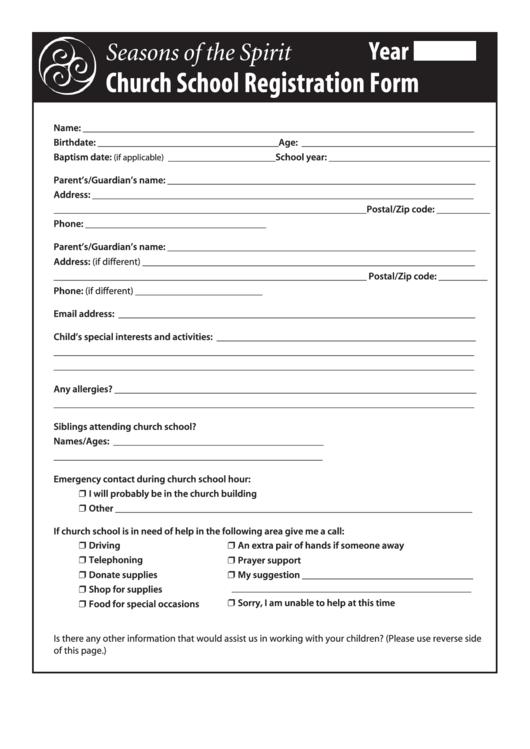 Fillable Church School Registration Form Printable pdf