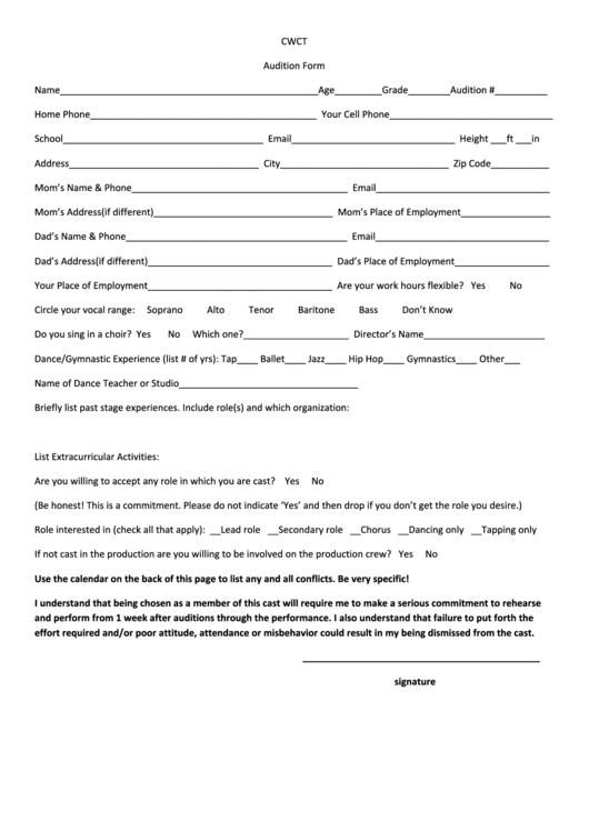 Audition Form Template Printable Pdf Download