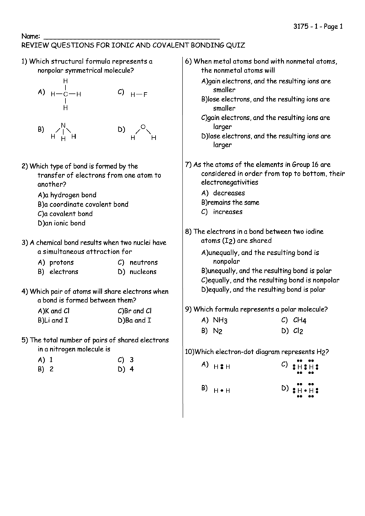 Review Questions For Ionic And Covalent Bonding Quiz Printable Pdf