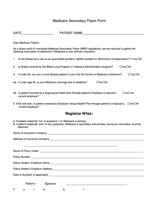 Medicare Secondary Payer Form - Form A-1 printable pdf download