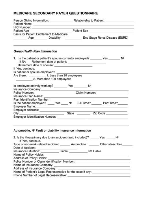 medicare secondary payer questionnaire printable pdf download