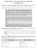 Occupational Safety And Health Complaint Form