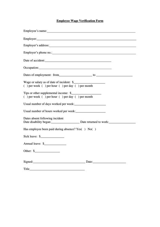 employee wage verification form printable pdf download