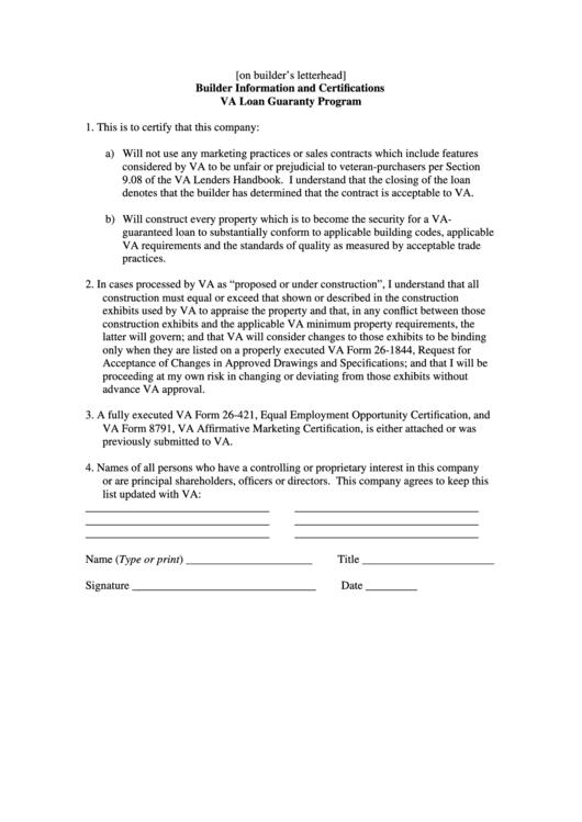 Va Loan Guaranty Program Form