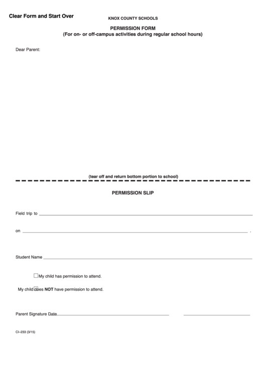 Knox County Schools Permission Form