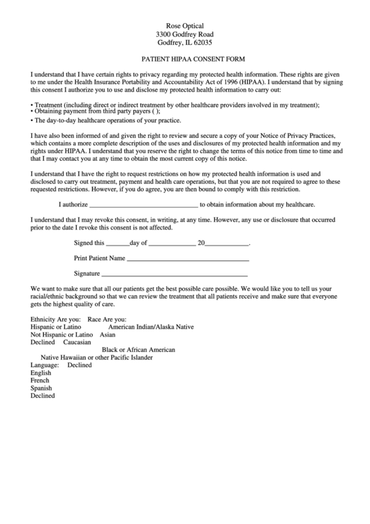 Patient Hipaa Consent Form Printable pdf