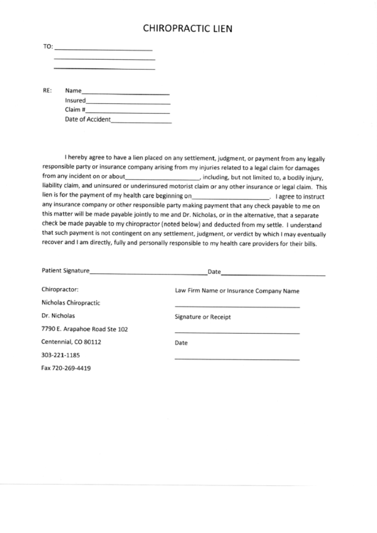 chiropractic lien form  sample  printable pdf download