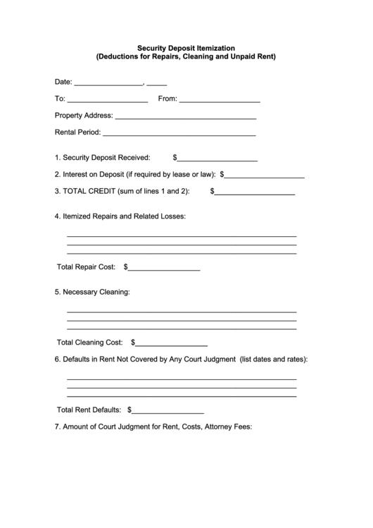 Security Deposit Itemization printable pdf download