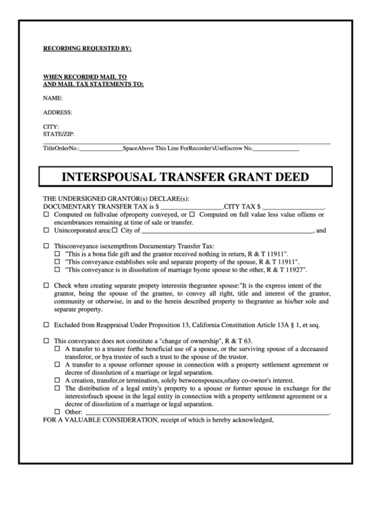 Interspousal transfer deed form california printable pdf for Deed of conveyance template