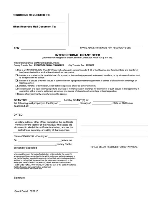 Top 6 Interspousal Transfer Deed Form Templates free to download ...
