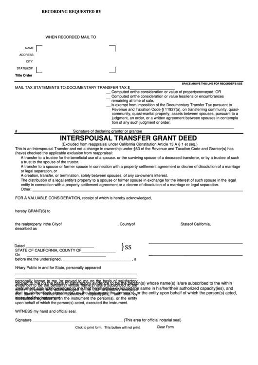 Fillable interspousal transfer grant deed form for Deed of conveyance template