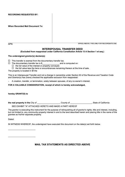 Interspousal Transfer Deed Form - California printable pdf download