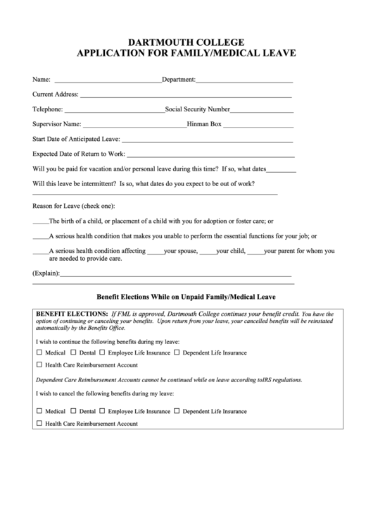 Dartmouth College Application For Family/medical Leave Form Printable pdf