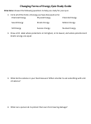 Changing Forms Of Energy Quiz Study Guide