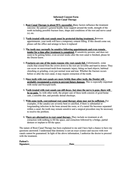 Informed Consent Form Root Canal Therapy printable pdf download