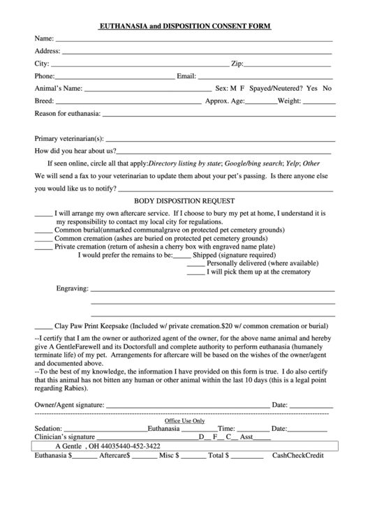 Euthanasia And Disposition Consent Form