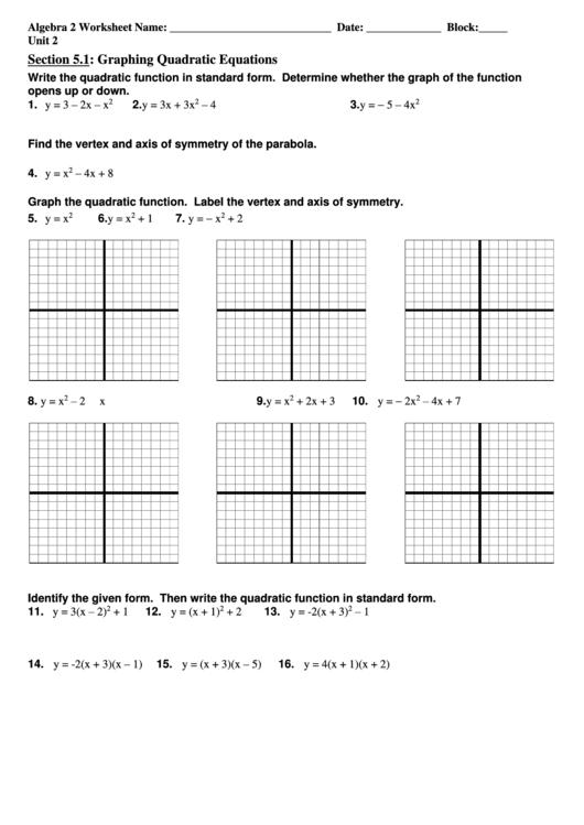 Graphing Quadratic Equations printable pdf download