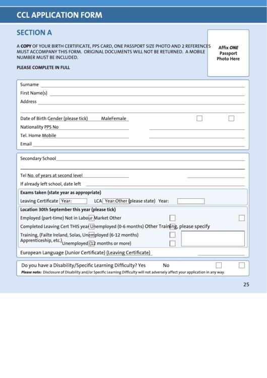 Ccl Application Form Printable Pdf Download