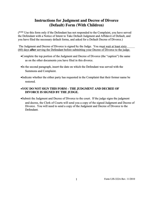 Judgement And Decree Of Divorce (default) - South Dakota