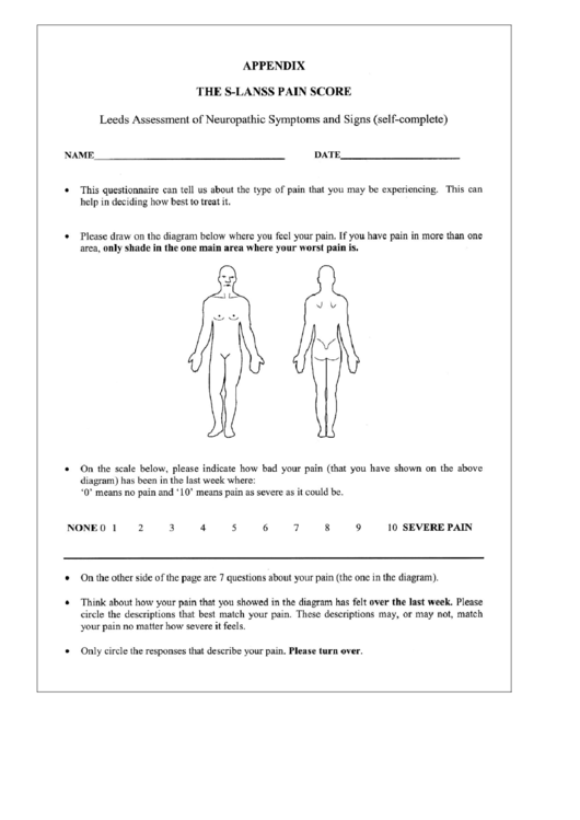 S lanss pain score and pain chart printable pdf download for Pain management templates