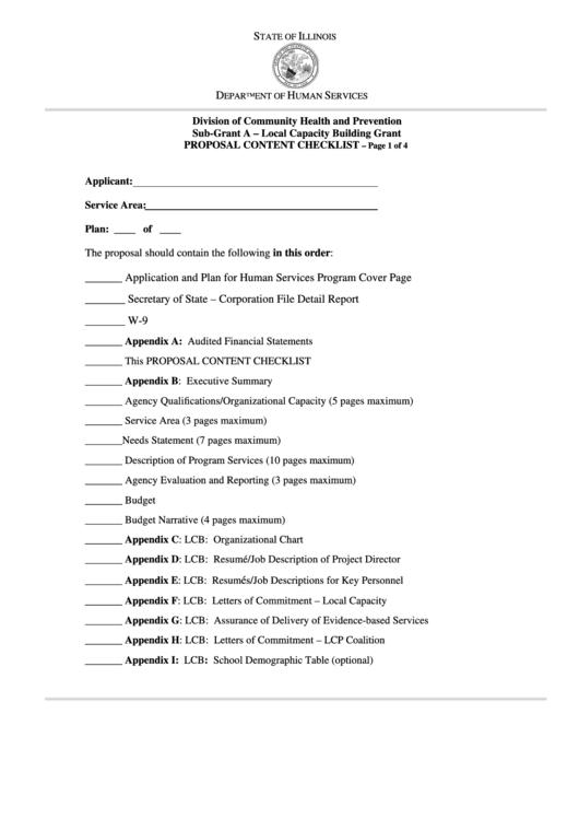 Proposal Content Checklist