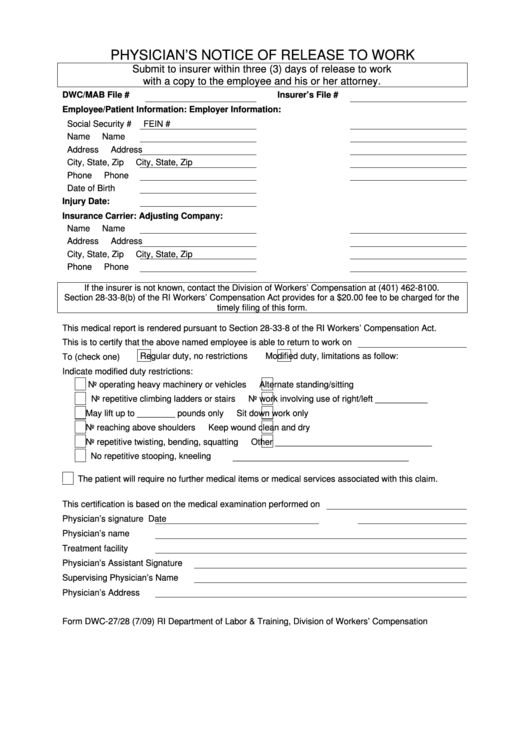physician u0026 39 s notice of release to work printable pdf download