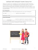 Washington State's Kindergarten Transition Summary Form