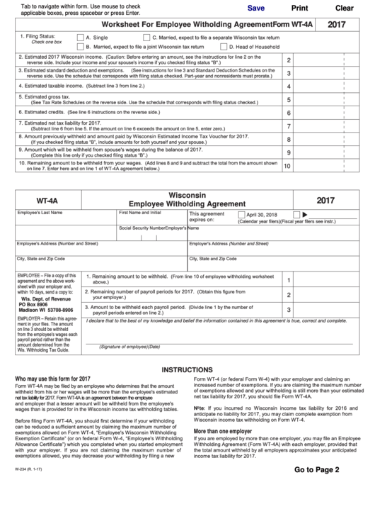 Form Wt-4a Wisconsin Employee Withholding Agreement