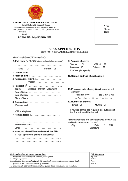 Consulate General Of Vietnam - Visa Application (for Non-vietnamese Passport Holders)