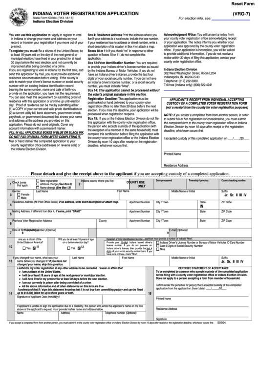 Form Vrg-7 - Indiana Voter Registration Application Form printable ...