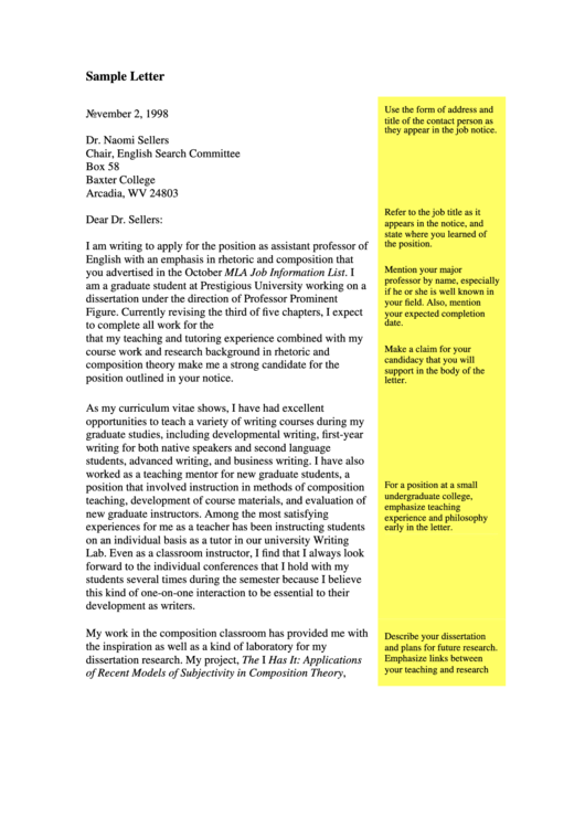 Cover Letter Sample - Assistant Professor Of English Printable pdf