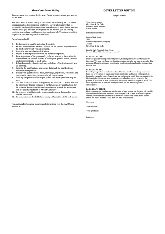 Cover Letter Sample Printable pdf